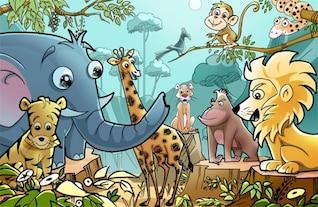 ilustración de dibujos animados animales africanos psd
