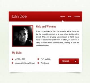 pequeñas páginas web vcard rojos psd