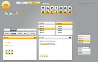 elegantes formas interfaz de usuario web y los elementos del kit psd
