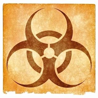 signo de peligro biológico grunge