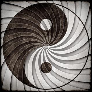 yin yang símbolo grunge