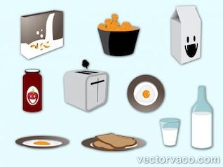Desayuno elementos conjunto de vectores