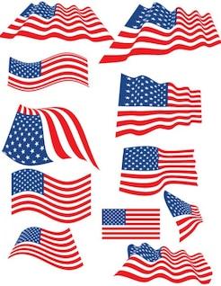 Conjunto de banderas de Estados Unidos con múltiples formas