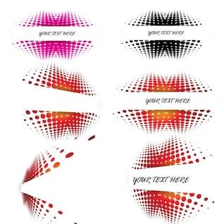 Coloridos elementos de diseño de medios tonos
