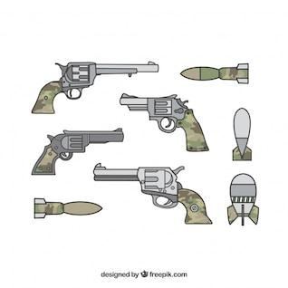 Armas militares con armas largas y pistolas