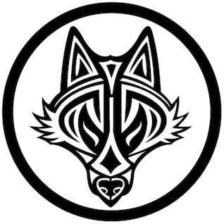 Cabeza de lobo en el estilo tribal