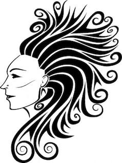 Largo y rizado mujer cara lateral del cabello