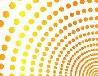 Cuartos de círculo de color naranja de fondo de los puntos