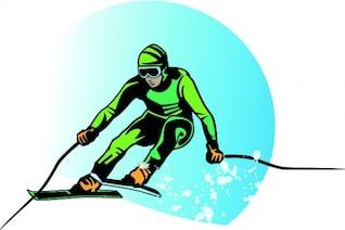 Fondo verde vector de la historieta del esquiador