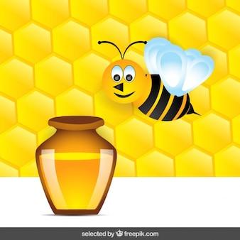 Abeja volando con miel