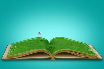 Abrir el libro de hierba verde del estadio de fútbol con el fútbol