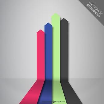 Flechas verticales de cuatro colores