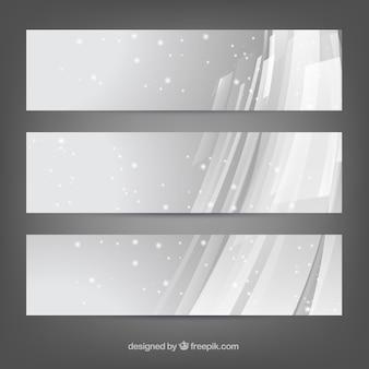 Banderas abstractas con nieve