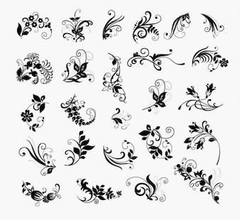 Abstracto floral paquete de vectores de flores