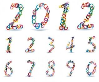 abstractos números de colores del arco iris