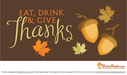 Acción de gracias con las hojas de otoño de fondo