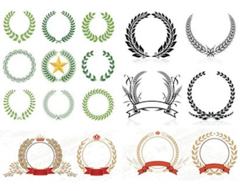 acciones de diseño coronas de laurel patrón de vectores