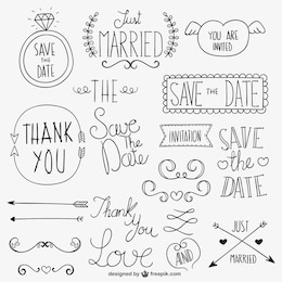 Adornos caligráficos de boda
