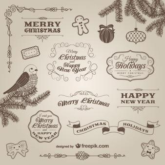 Adornos de Navidad retro y etiquetas
