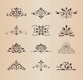 Adornos florales retro conjunto de vectores