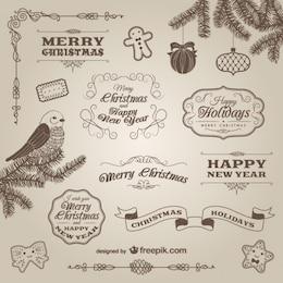 Adornos y etiquetas retro de Navidad