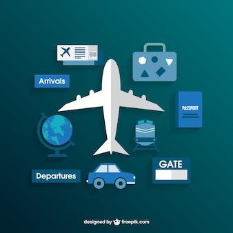 Aeropuerto colección de iconos