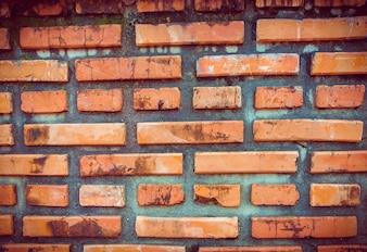 Agrietado muro de hormigón de ladrillo de la vendimia