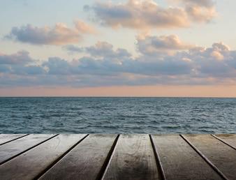 Agua del océano bordo complejo madera