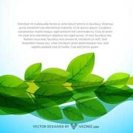 Agua y hojas de fondo con texto de ejemplo