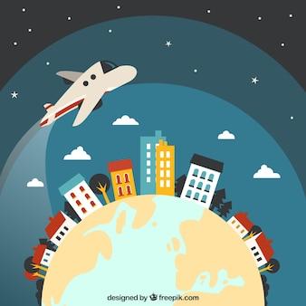 Avión volando alrededor del mundo