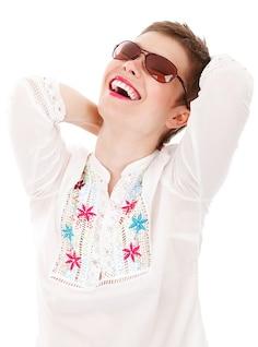 aislado riendo chica feliz hembra lindo manera