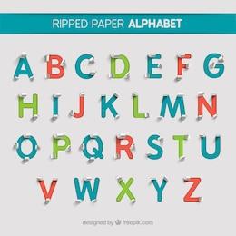 Alfabeto de papel rasgado