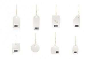Almacenar etiqueta de precio en el diseño blanco y negro simple
