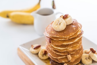 Almendra banana panqueque