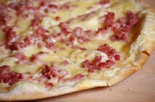 alsaciano pizza, carne de cerdo