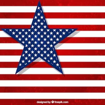 Bandera americana con estrella grande