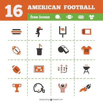 Colección de iconos de fútbol americano