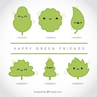 Amigos verdes felices