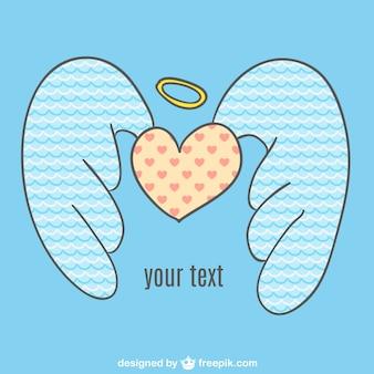 Vector corazón con alas de ángel