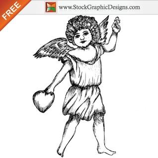 Ángel lindo Cupido Ilustración vectorial libre
