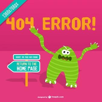 Vector de error 404 con monstruo enfadado