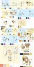 Animales de la historieta escenas de conjunto de vectores