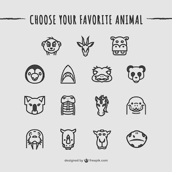 Colección de iconos de animales salvajes