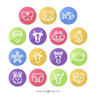 Pack de iconos redondos de animales