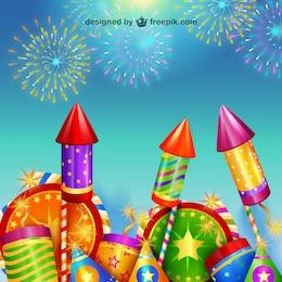 Año Nuevo fuegos artificiales de fiesta