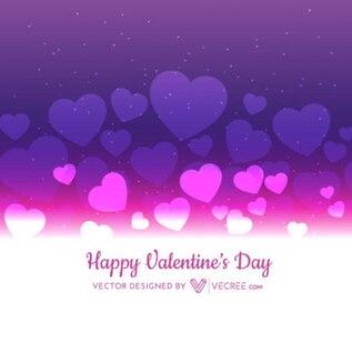 Antecedentes de San Valentín con corazones púrpura