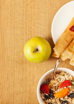 Apple y la comida para el desayuno