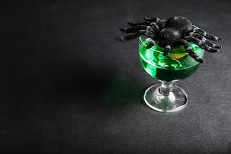 Araña en el vidrio con veneno