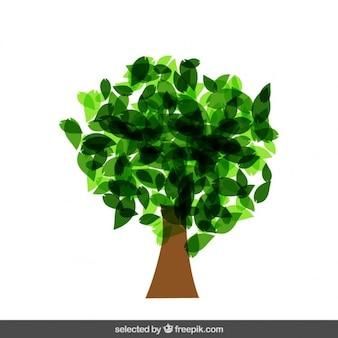 Árbol aislado hecho con hojas translúcidas