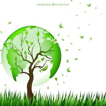 Árbol con el mapa del mundo